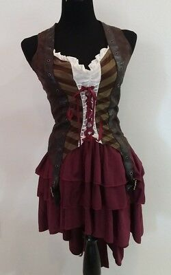 Adult Womens Sexy Pirate Costume Med. Swashbuckler Wench Girl Halloween  Dress