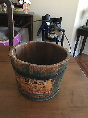 Great Antique Advertising Bucket Abbott Grocery Co, Keene, Nh Green Paint
