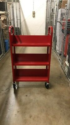 Sandusky Red Singled Sides Sloped Shelf Book Truck