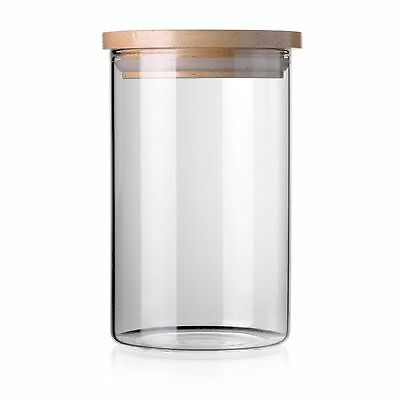 STACK UP Safe Clear Borosilicate Glass Jar with Wooden Lid - Canister for Food