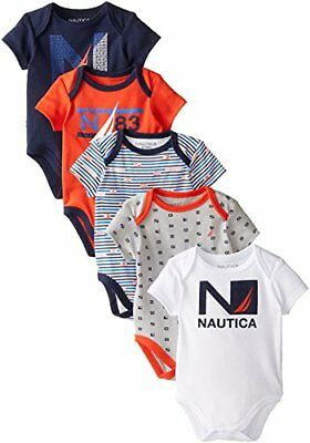 Nautica Baby Boys' 5 Pack Bodysuits Toddler Outfit Clothes Newborn 0 - 9 Months