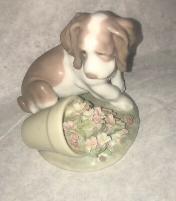 Lladro 7672 It Wasn't Me Puppy Flower Pot Dog Figurine Nice! 1998!