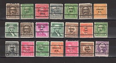 USA Bureau  Precancel  - Vorausentwertungen 21 different stamp