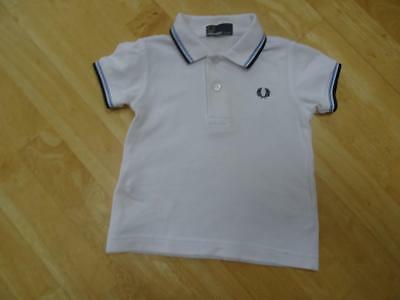 FRED PERRY baby boys white designer polo t shirt AGE 6 9 12 MONTHS AUTHENTIC