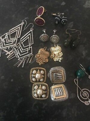 Job Lot Of Nine Pairs Of Vintage And Modern Earnings Clips On Dangles  Nice Lot.