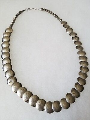VINTAGE NAVAJO Sterling Silver 34 LARGE BENCH BEADS & OTHER Hancrafted NECKLACE