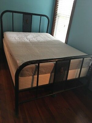 Vintage Full Size Metal Bedframe Black Industrial Art Noveau (?) Tubular Bed Fra