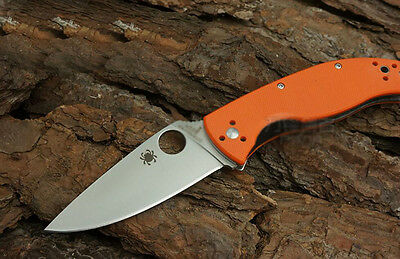 New Box C122 Orange Spyderco Pocket Knife Camping Folding Knife Self Defense A19