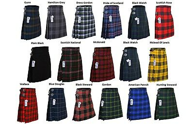 New Men's 5 Yard Scottish Kilts Tartan Kilt 13oz Highland Casual Kilt 12 Tartans