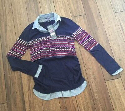 Oh Baby By Motherhood Dress Shirt Sweater Navy With Pink Details Size S NWTs