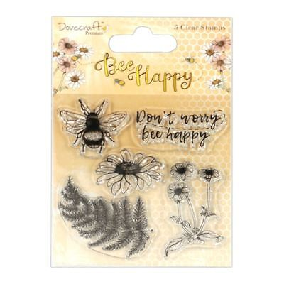 Dovecraft Premium Bee Happy Paper Craft Collection - Clear Stamps (5pcs)