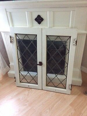 Pair Of Antique Mission Era Leaded Glass Windows Doors Architectural *free Ship*