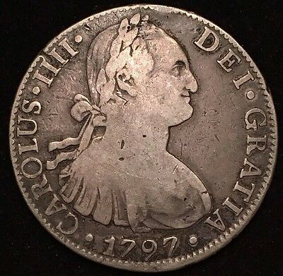 **L@@K** Beautiful  Silver 1797 Mexico 8 Reales
