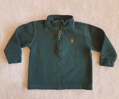 Toddler Boys RALPH LAUREN Green 1/2 Zip Long Sleeve Shirt Size 2T