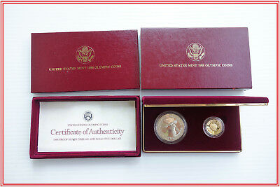 U.S. Mint 1988 Olympic 2 Coin $5 Gold & Silver Proof Set with Box and COA