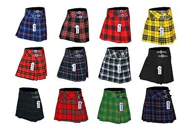 Ladies Womens 12 Tartan Pleated Billie Kilt Skirt Leather Buckled Straps
