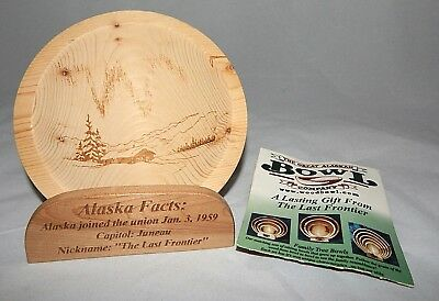 Cabin Scene Fairbanks Alaska Wood Bowl with Stand by The Great Alaskan Bowl Co
