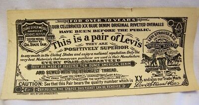 1927 Levi Strauss & Co. Levis Jean Patch Original For Over 70 Years Motto