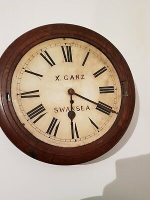 Early 20th Century oak cased school type wall Antique clock Swansea X GANZ resto