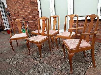 Set of Six Walnut Upholstered Dining Chairs.