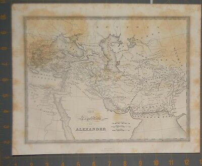 1853 Antique Map Engraving Ancient Greek Alexander the Great