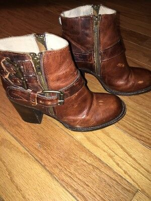 FREEBIRD Bolo Triple Buckle Brown Cognac Leather Ankle Boots Women's Size 6
