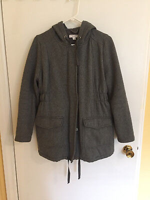 Gray Liz Lange hooded maternity jacket L