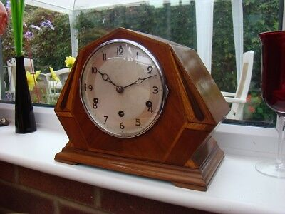 Art deco westminster chime mantel clock walnut case with inlays for restore runs
