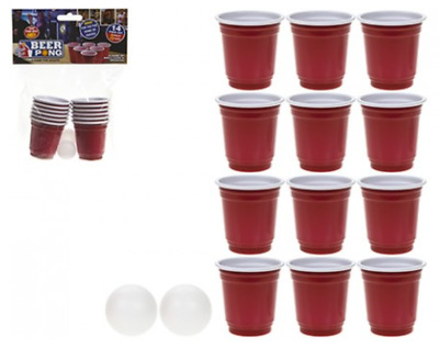 14pc Mini Red Plastic Cups Beer Pong Shot Set Balls Adult Drinking Games Party