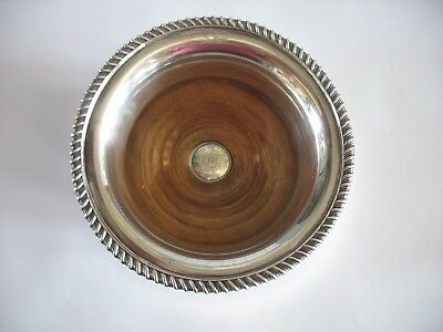 ANTIQUE ENGLISH SHEFFIELD SILVER PLATE WINE COASTER Monogrammed & Hallmarked