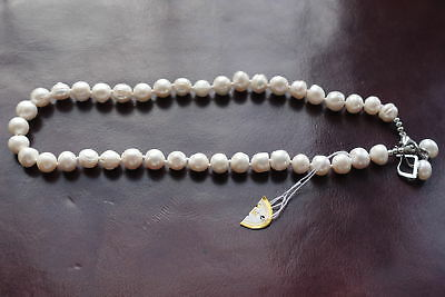 New Real Cultured White Pearl Necklace and Earrings