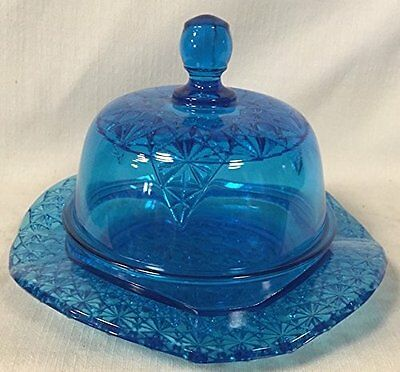 Butter Dish - Queen Pattern - Colonial Blue Glass - Mosser USA