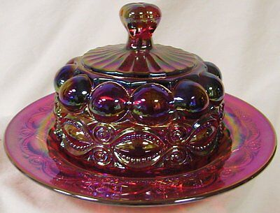 Butterdish - Eyewinker - Red Carnival Glass - Mosser USA