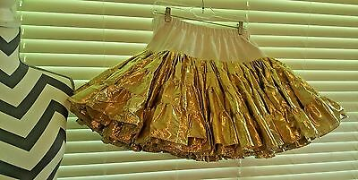 """Square Dance Petticoat Gold Lame Small to Med. 19""""-18""""-17"""" 70Yards"""