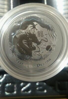2012 Lunar series II Year of the Dragon 1/2 oz..999 silver round coin