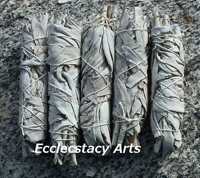 """5 White Sage Smudge Bundle Incense-Herb Wand 4- 5"""" Long House Cleansing Negative"""