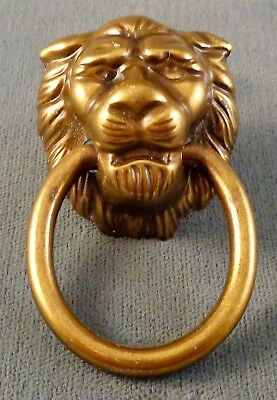 Large Antique Cast Brass Lion's Head Drawer Pull with Ring