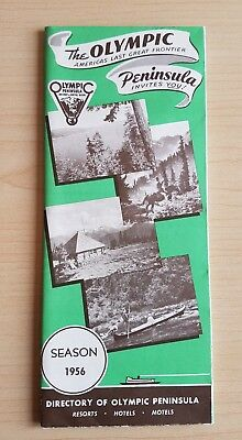 1956 The Olympic Peninsula Resorts-Hotels-Motels Fold Out Travel Brochure