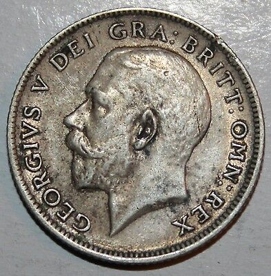 Uk 1921 Silver Six Pence #3