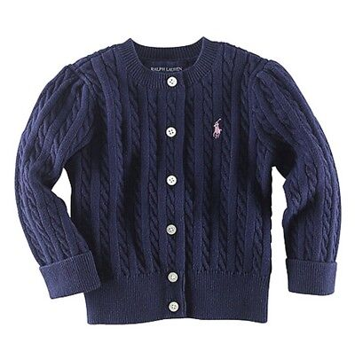 Baby Girl Ralph Lauren Cardigan Navy Blue