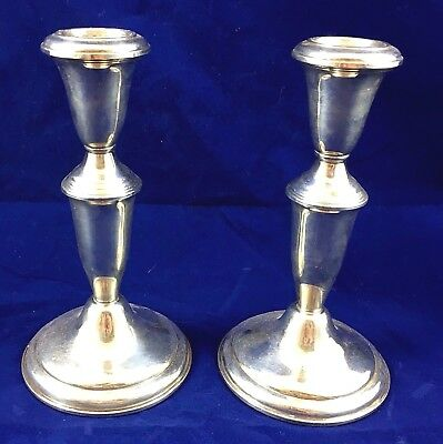 Pair Of American Sterling Silver Candlesticks *** Marked ++ 16.5Cm ***