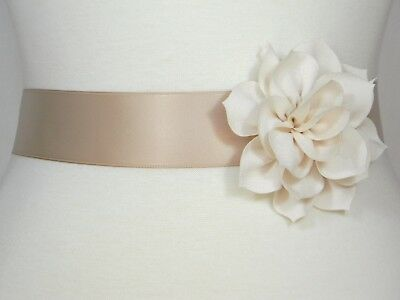 Champagne Bridal Sash, Wedding Belt, Bridal Bridesmaid Flower Girl Dress Sash