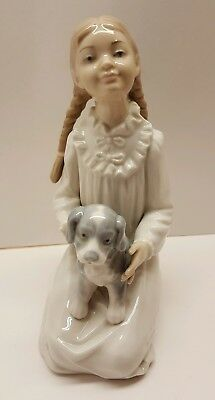 Lladro NAO Figurine Seated Girl in Pajamas Braids with Puppy Dog
