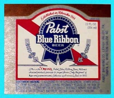 Lehigh Valley PA - Pabst Blue Ribbon Beer 12oz  label #2 - NOS (New Old Stock)