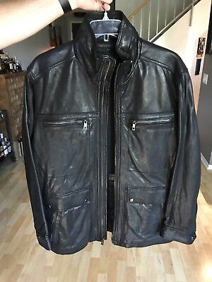 andrew marc mens leather jacket Size L Large New coat