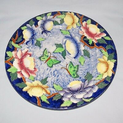 MALING ENGLAND TUBELINED PEONA PATTERN ULTRAMARINE BACKGROUND PLATE c1935