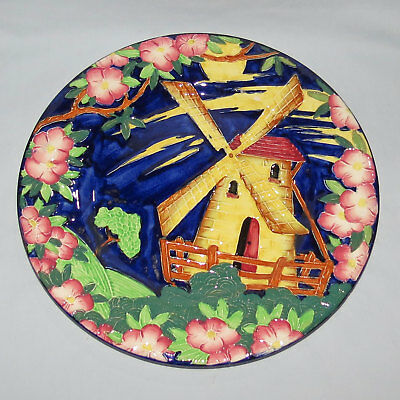 MALING ENGLAND TUBELINED WINDMILL PLATE BLUE BACKGROUND c.1935