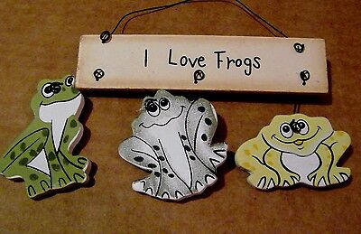 """5X5"""" I LOVE FROGS country wood frog decor ornament plaque sign"""