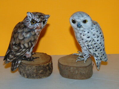 """Pair of Hand Carved & Painted WOODEN OWL Statue Figurines - 3.5"""" Tall"""