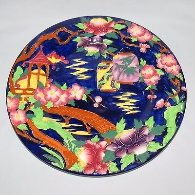 MALING ENGLAND TUBELINED JAPANESE LANTERN PLATE BLUE BACKGROUND c.1935